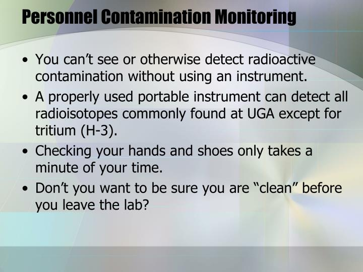 Personnel Contamination Monitoring