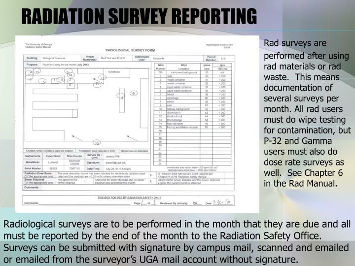 RADIATION SURVEY REPORTING