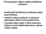 formuluojant vidaus audito problemas siekiama
