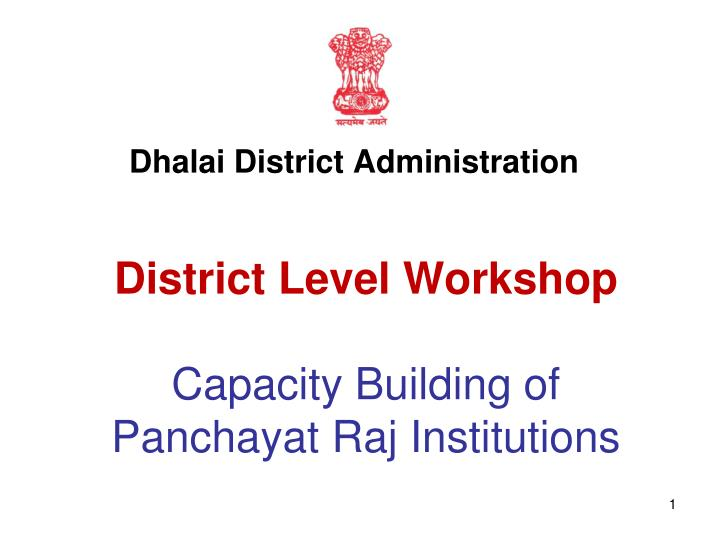 district level workshop capacity building of panchayat raj institutions n.