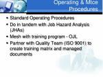 operating mtce procedures
