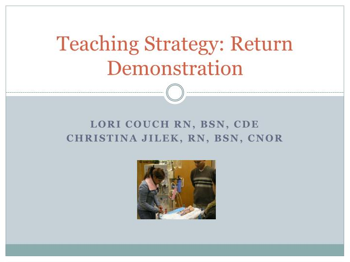 teaching strategy return demonstration n.