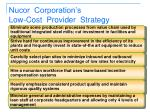 nucor corporation s low cost provider strategy