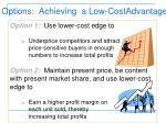 options achieving a low costadvantage