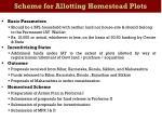 scheme for allotting homestead plots