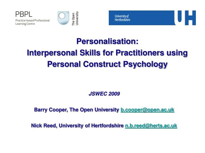 personalisation interpersonal skills for practitioners using personal construct psychology n.