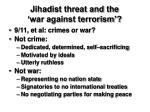jihadist threat and the war against terrorism
