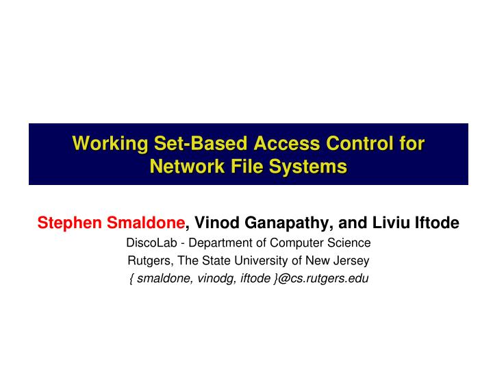 working set based access control for network file systems n.