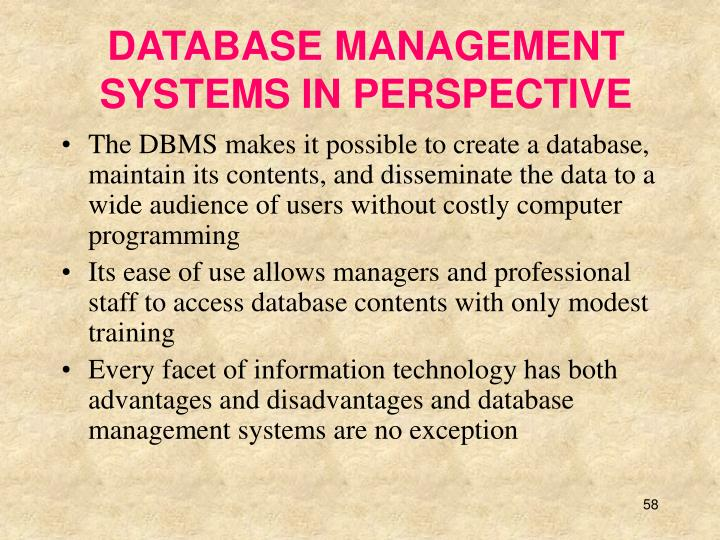 DATABASE MANAGEMENT SYSTEMS IN PERSPECTIVE