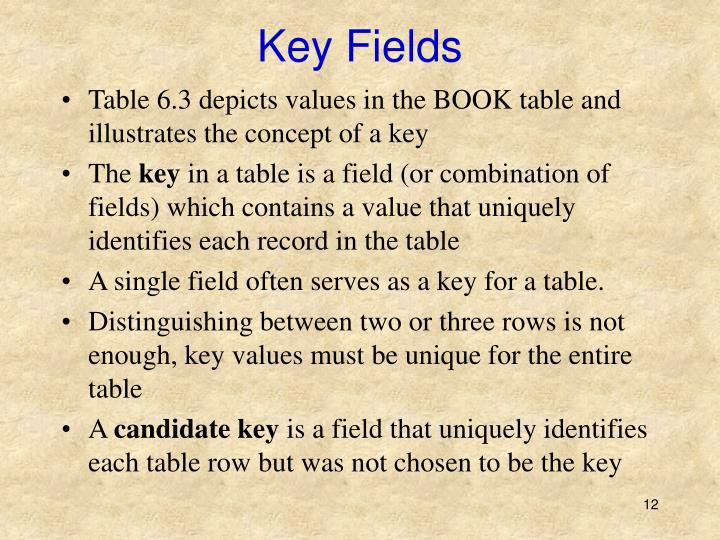 Key Fields