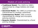 models of rural policing