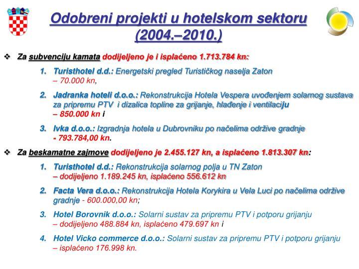 Odobreni projekti u hotelskom sektoru (2004.–2010.)