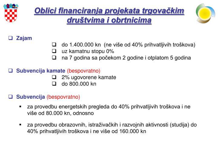 Oblici financiranja projekata trgovačkim društvima i obrtnicima