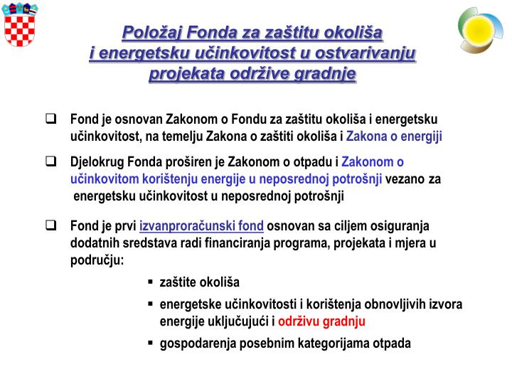 Položaj Fonda za zaštitu okoliša