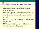preliminary results key messages