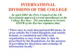 international divisions of the college