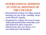 international sessions at annual meetings of the college