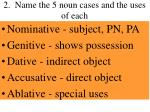 2 name the 5 noun cases and the uses of each