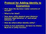 protocol for adding identity to economics