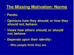 the missing motivation norms