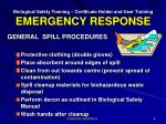 biological safety training certificate holder and user training emergency response2