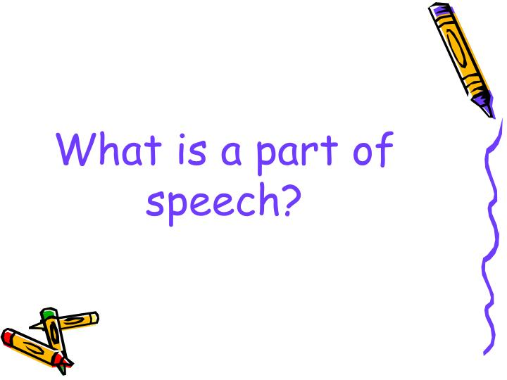 what is a part of speech n.