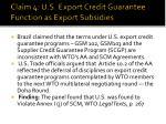 claim 4 u s export credit guarantee function as export subsidies
