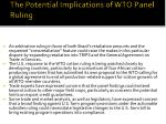 the potential implications of wto panel ruling