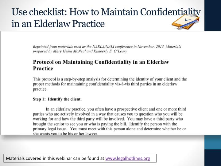 Use checklist: How to Maintain Confidentiality in an
