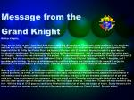 message from the grand knight
