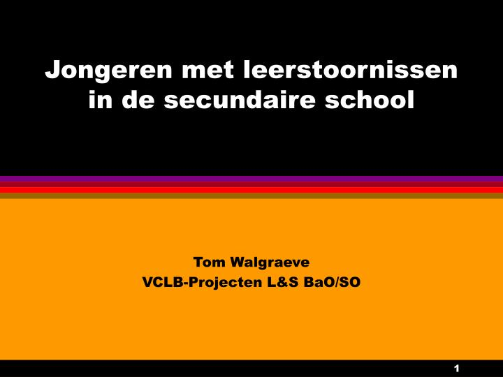 jongeren met leerstoornissen in de secundaire school