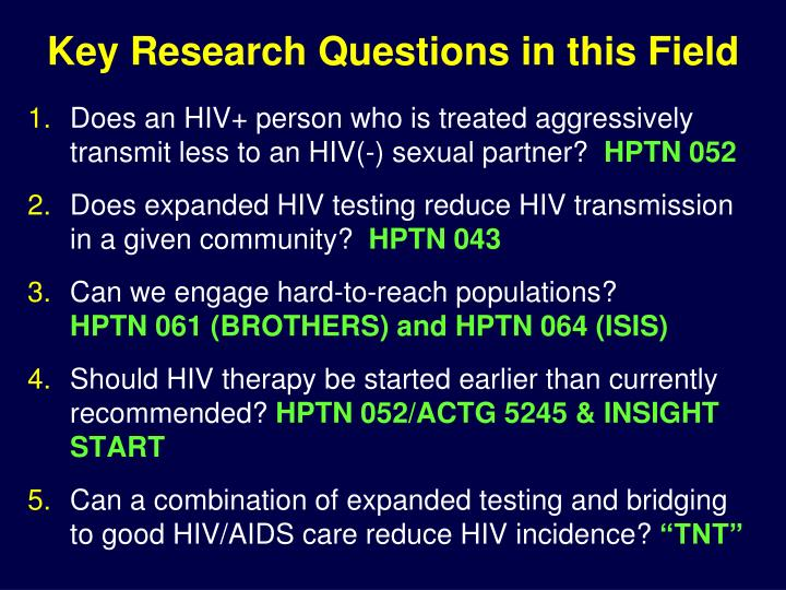 Key Research Questions in this Field