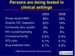persons are being tested in clinical settings