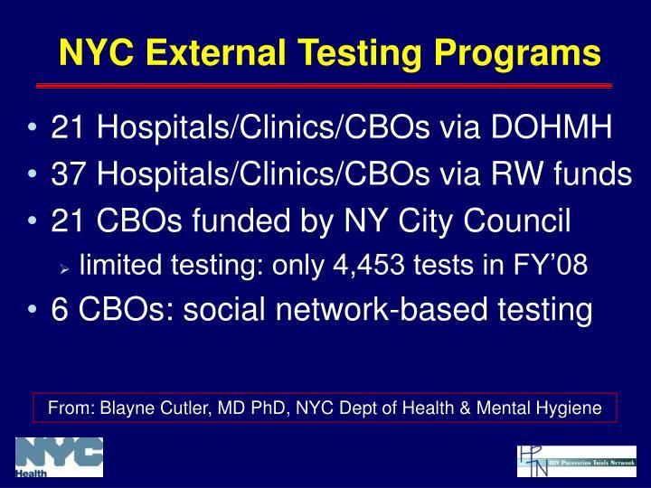 21 Hospitals/Clinics/CBOs via DOHMH