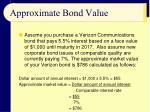 approximate bond value