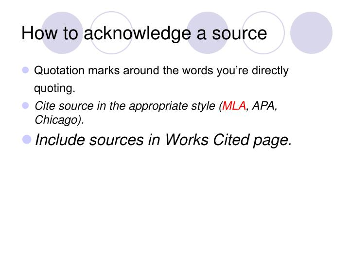 How to acknowledge a source