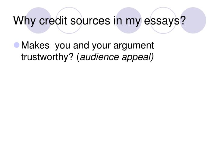 Why credit sources in my essays?