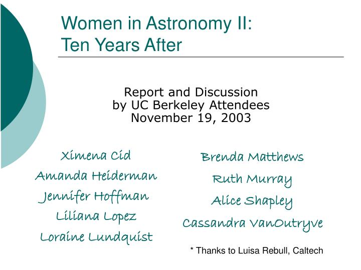 women in astronomy ii ten years after n.