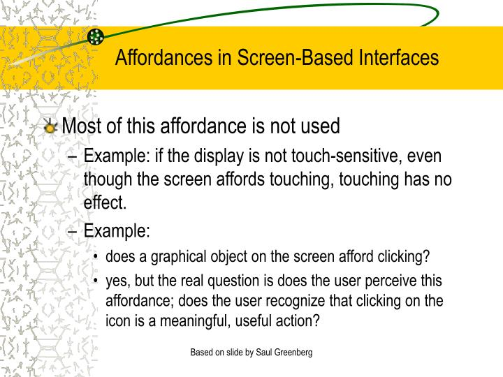 Affordances in Screen-Based Interfaces