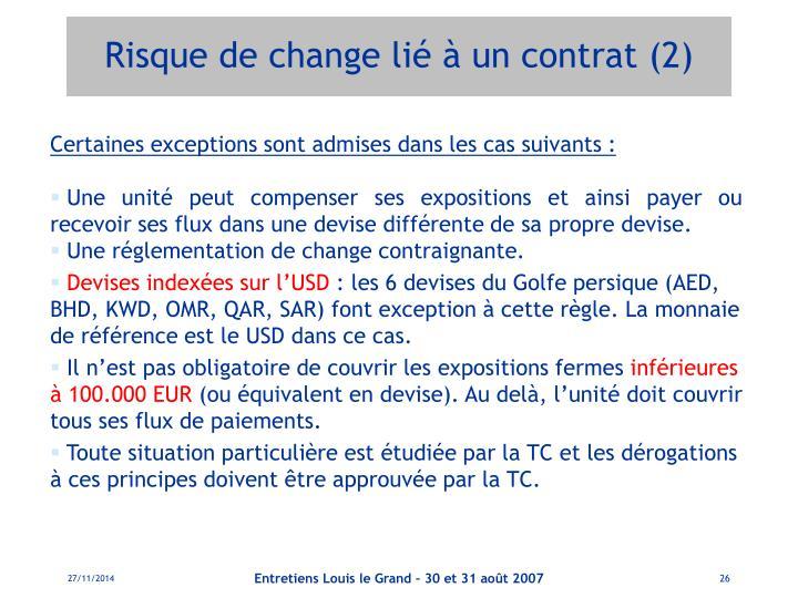 Risque de change lié à un contrat (2)