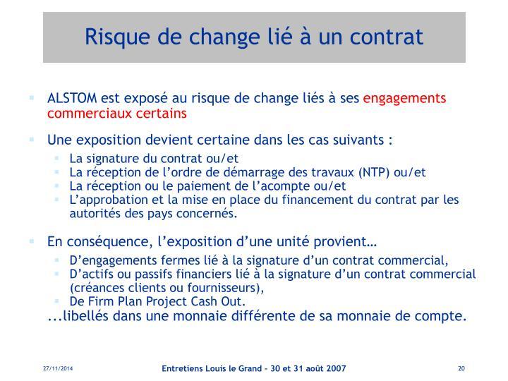 Risque de change lié à un contrat