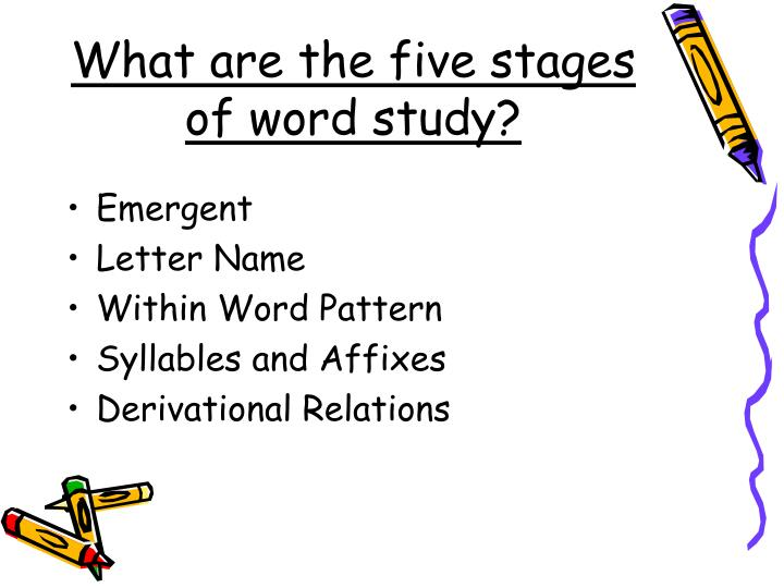 What are the five stages of word study