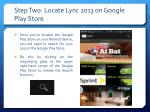 step two locate lync 2013 on google play store