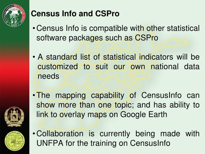 Census Info and CSPro