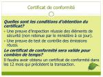 certificat de conformit