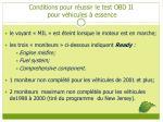 conditions pour r ussir le test obd ii pour v hicules essence