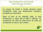 type d inspection recommand concernant les missions