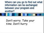 where can you go to find out what information can be exchanged between your program and another