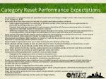 category reset performance expectations