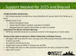 support needed for 2015 and beyond